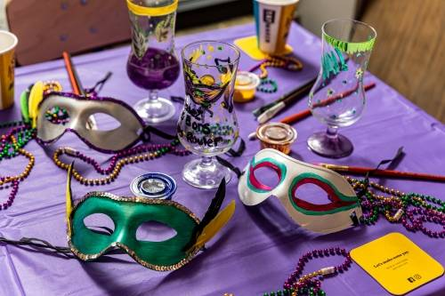 A Mardi Gras Mask  Hurricane Glass experience project by Yaymaker