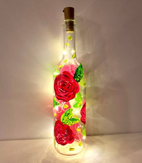 A Easy Breezy Rose Bud Wine Bottle With Fairy Lights experience project by Yaymaker