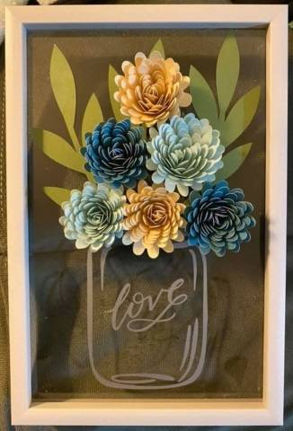 A Shadow Box Frame With Love Jar And Paper Flowers experience project by Yaymaker