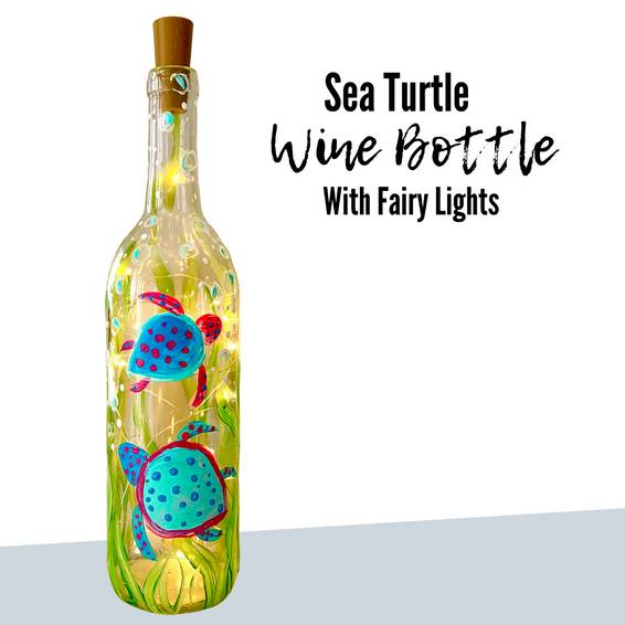 A Sea Turtle Wine Bottle and Fairy Lights experience project by Yaymaker