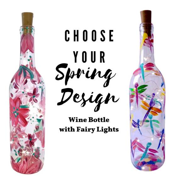 A Choose Your Spring Design Wine Bottle with fairy lights experience project by Yaymaker