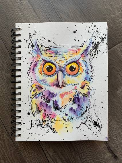 A Watercolor and sharpie Owl virtual experience project by Yaymaker