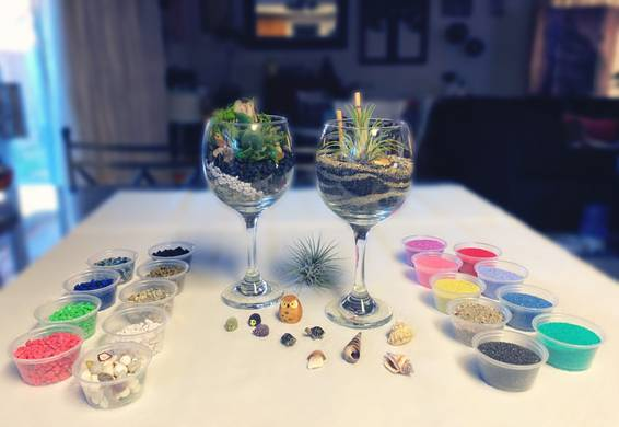 A What a Pair Create 2 Wine Glass Terrariums experience project by Yaymaker