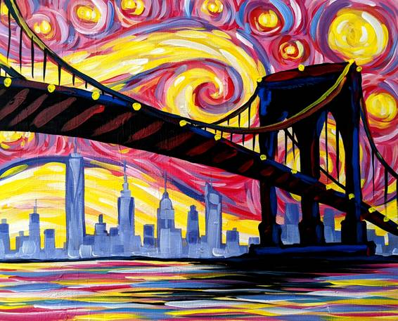 A Psychedelic Starry Night Over Brooklyn Bridge experience project by Yaymaker
