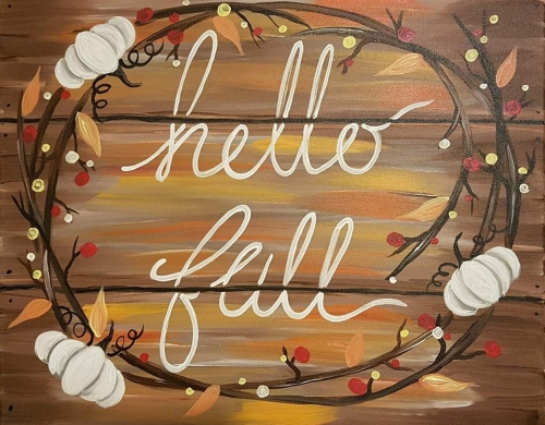 A Hello Fall Sign paint nite project by Yaymaker
