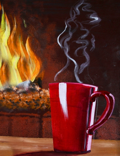 A Coffee By the Fireplace paint nite project by Yaymaker