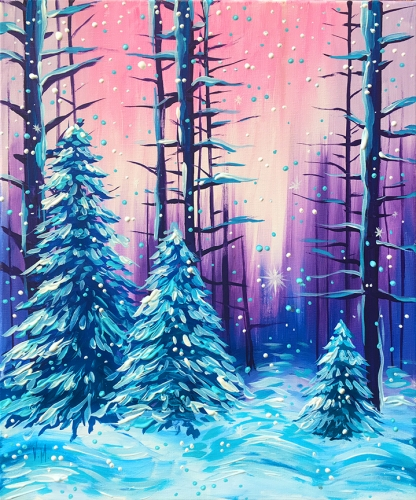 A Frozen Forest II paint nite project by Yaymaker