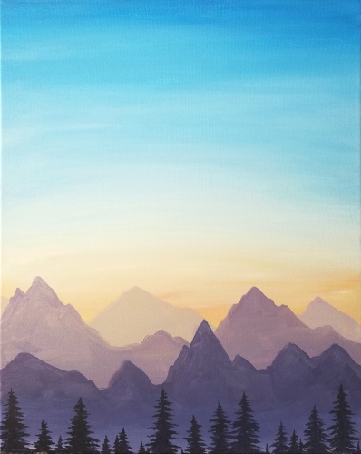 A Mountain Majesty Sunset paint nite project by Yaymaker