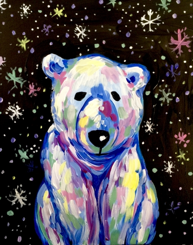 A Beary Colorful Polar Bear paint nite project by Yaymaker