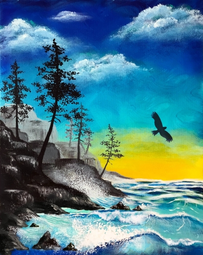 A Coastal Cliffs paint nite project by Yaymaker