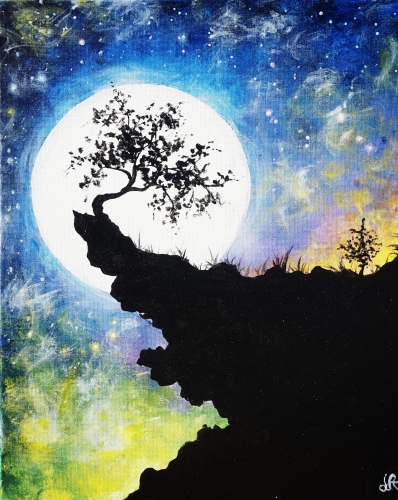 A Moonlit Cliff Tree paint nite project by Yaymaker