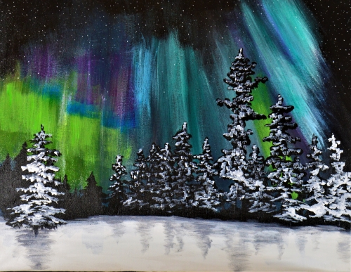 A Lights Dancing in Winter paint nite project by Yaymaker