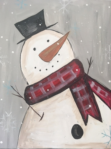 A Winter Welcome Snowman paint nite project by Yaymaker