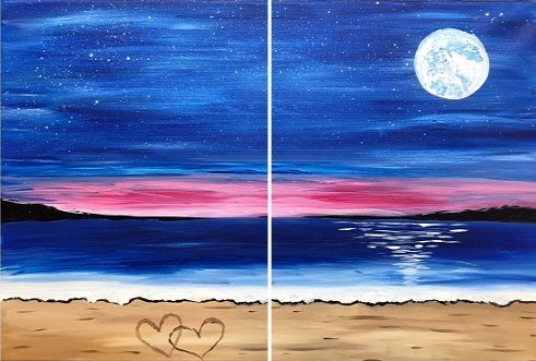 A Love by the Sea Partner Painting paint nite project by Yaymaker