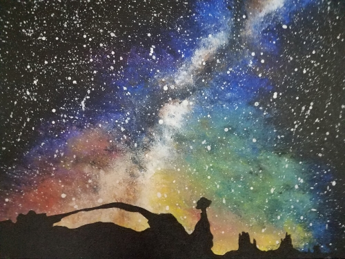 A Star Gazing In The Utah Desert paint nite project by Yaymaker