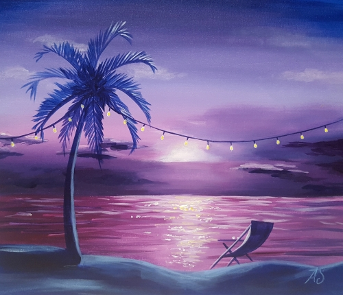 A Beach Garden Party paint nite project by Yaymaker