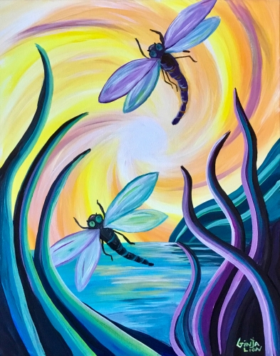 A Dawn of the Dragonfly Dance paint nite project by Yaymaker