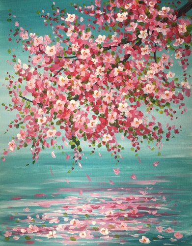 A Apple Blossom Reflection paint nite project by Yaymaker