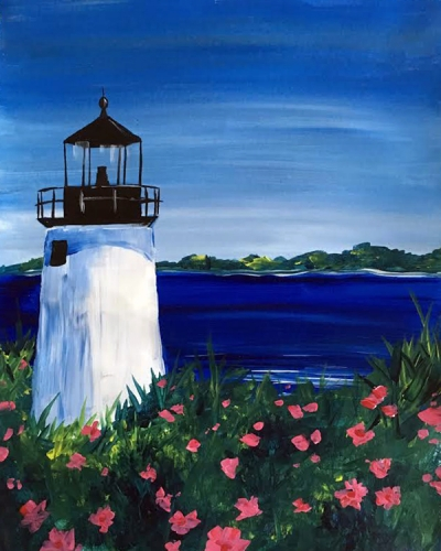 A Lighthouse Blooms paint nite project by Yaymaker