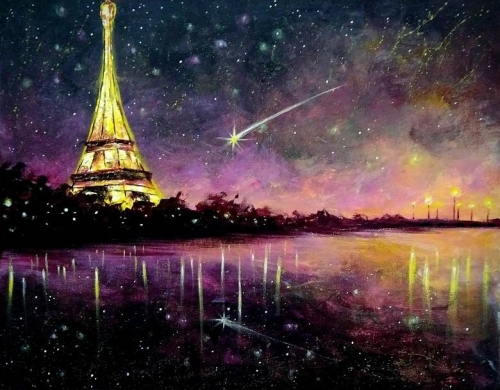 A Pink Paris Sunset paint nite project by Yaymaker