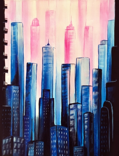 A Colorful City II paint nite project by Yaymaker