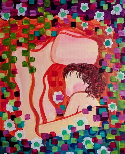 A Klimt Mother and Child paint nite project by Yaymaker