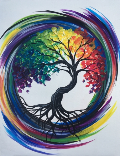 A Rainbow Tree of Life paint nite project by Yaymaker