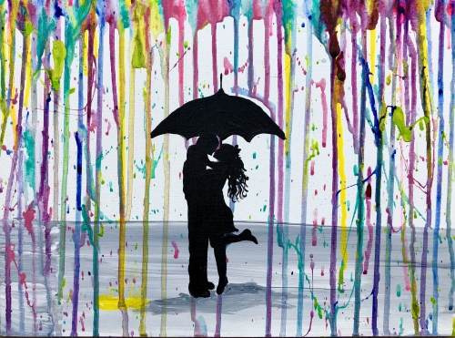 A Raindrop Rainbow Kisses paint nite project by Yaymaker