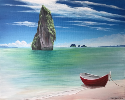 A Tropical Beach Escape paint nite project by Yaymaker