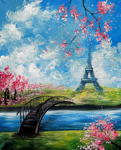 A Bridge and Blossoms in Paris paint nite project by Yaymaker