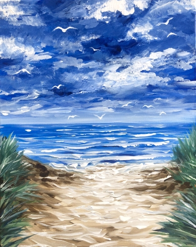 A Dance of the Seagulls paint nite project by Yaymaker