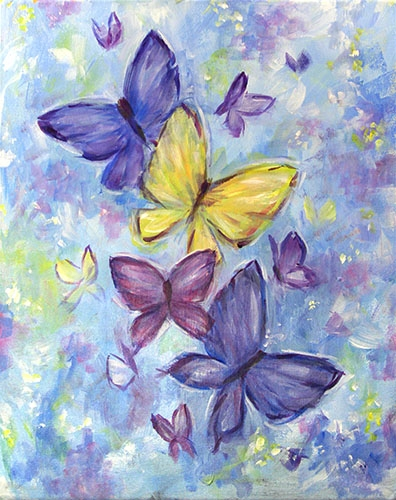 A Spring Butterflies paint nite project by Yaymaker