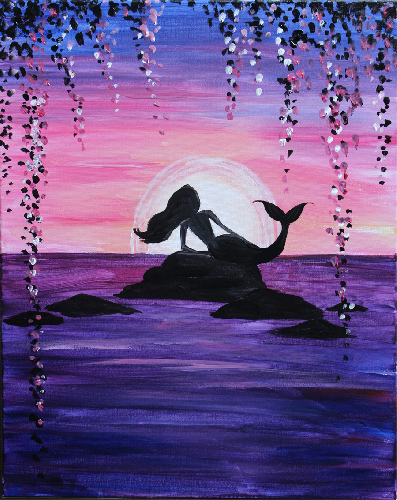 A Mermaids Lagoon paint nite project by Yaymaker
