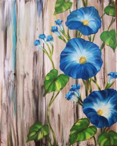 A Barnyard Morning Glories paint nite project by Yaymaker