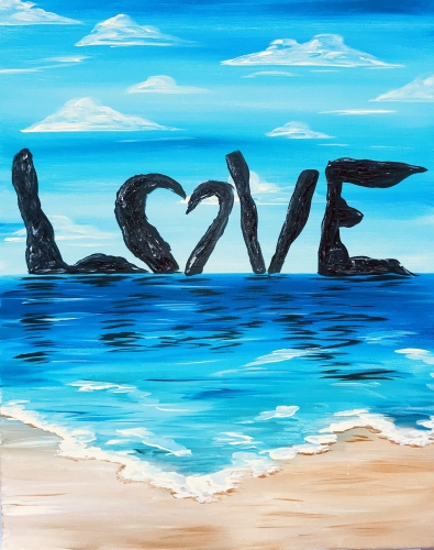 A Love Rocks The Beach paint nite project by Yaymaker
