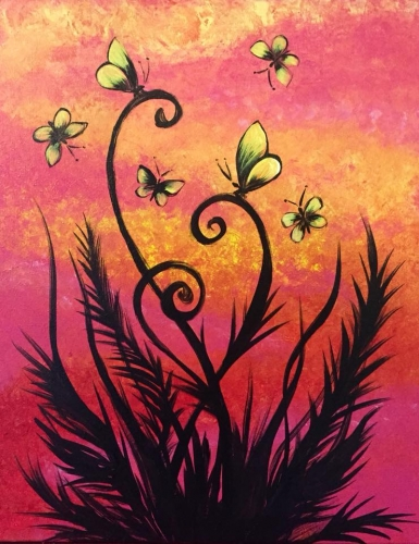 A Sunset Butterfly Dance paint nite project by Yaymaker
