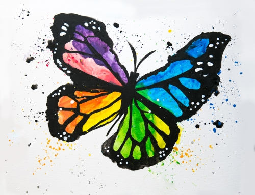 A Multicolored Monarch paint nite project by Yaymaker