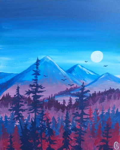 A Vibrant Violet Mountain View paint nite project by Yaymaker