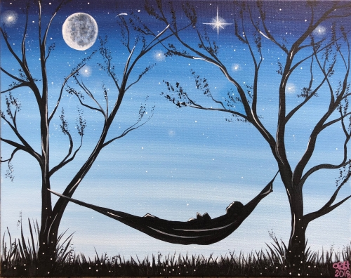 A Relaxing Under the Starry Night paint nite project by Yaymaker