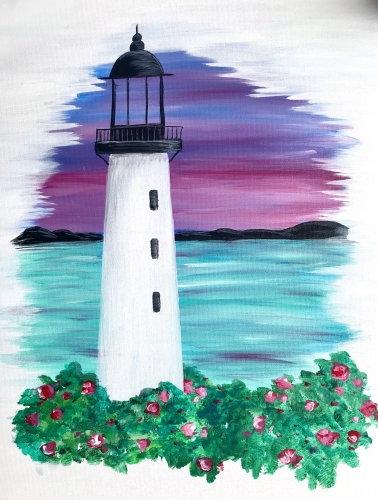 A Lighthouse Sunset By The Sea paint nite project by Yaymaker