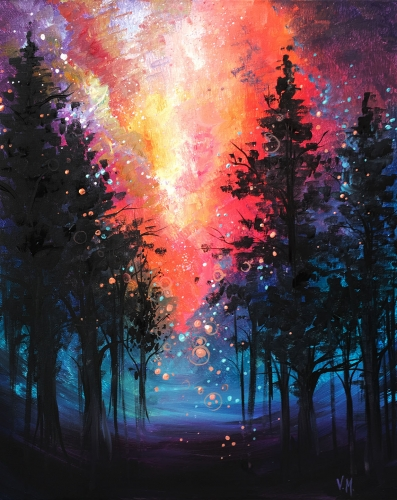 A Magical Sunset paint nite project by Yaymaker