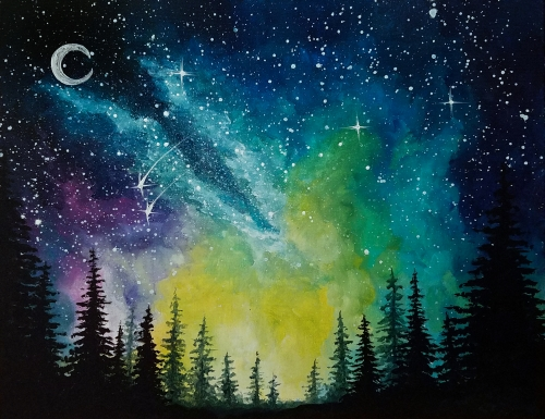 A Moonlit Forest Milky Way paint nite project by Yaymaker