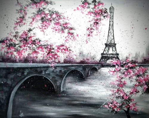 A Paris and a Bridge paint nite project by Yaymaker