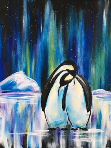 A Penguin Northern Light Lovers paint nite project by Yaymaker