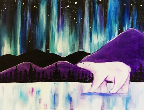A Polar Bear under the Northern Lights paint nite project by Yaymaker