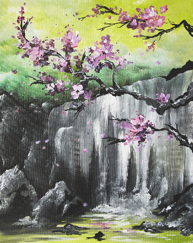 A Zen Cherry Blossoms paint nite project by Yaymaker
