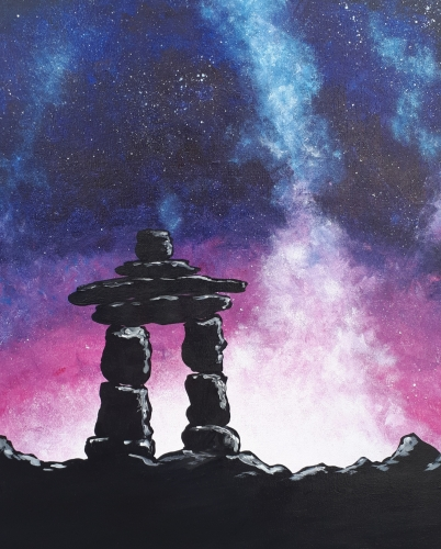 A Pink Galaxy Inukshuk paint nite project by Yaymaker
