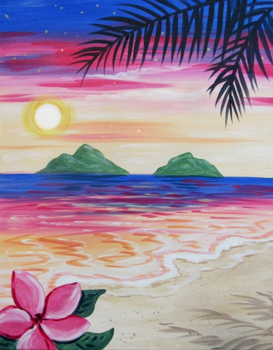 A Hawaii Dreams paint nite project by Yaymaker