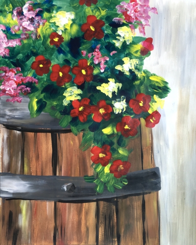 A Flower Barrel paint nite project by Yaymaker