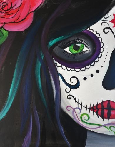 A Calavera Sugar Skull Babe paint nite project by Yaymaker